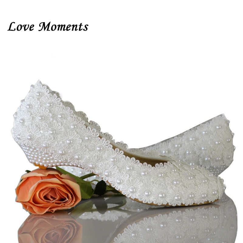Love Moments white flowers pearl bridal shoes low heel round toe fashion women s  shoes wedges party 027f4964efb4