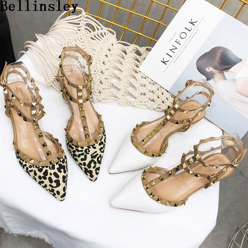 Bellinsley 2019 New Spring Ankle Strap Women Flat Leopard Shoes T strap Pointed Toe Rivet Flat Sandals Woman Party Dress Shoes|Women