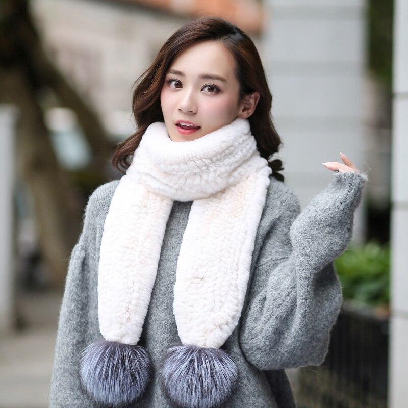 ZDFURS * hiver femmes Long véritable tricoté réel Rex écharpe de fourrure de lapin avec argent renard pompon col chaud naturel fourrure de renard écharpes