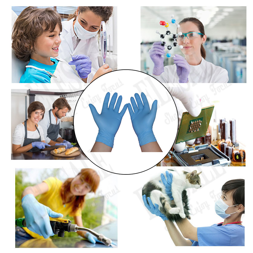 Image 5 - 100pcs/pack Blue Disposable Nitrile Gloves Oil Proof Exam Work Gloves Ambidextrous For House Tattoo Hands Protectiondisposable nitrile glovesnitrile gloveswork gloves -