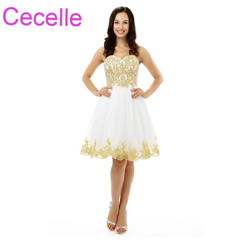 White Gold Short   Cocktail     Dresses   2019 Sweetheart A-line Knee Length Teens Informal Short Prom Party Gowns Custom Made Sale
