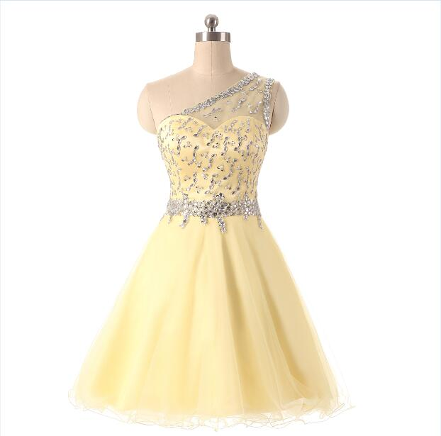 Yellow Cocktail Dresses Knee Length One Shoulder Tulle With Beaded Vestido De Festa Curto Short Party Dresses Robe Cocktail