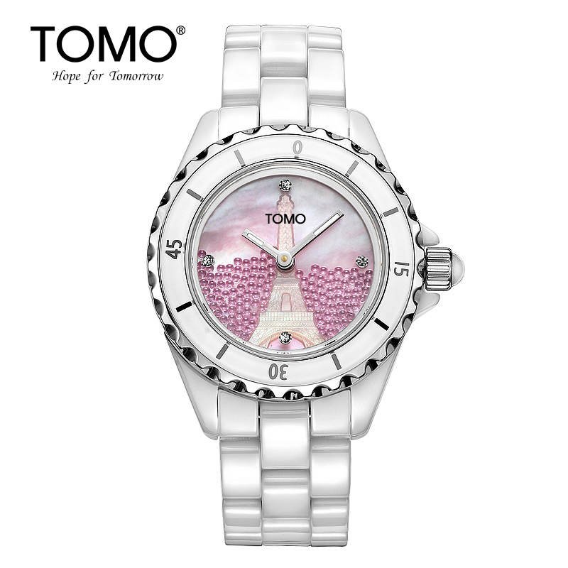 Tomo Ceramic Watch White Female Fashion Women's Watch Waterproof Female Student table concept of vortex female student individuality creative watch han edition contracted fashion female table