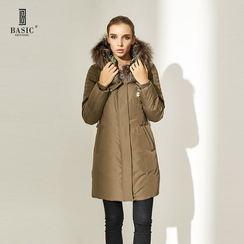 Basic Editions Women Winter Casual Slim Fit with Belt Silver Fox Fur Hood White Duck Down Parka Coat Jacket - WY15037 basic editions fall winter brown metallic silk fabric cotton coat with rabbit fur collar with belt covered button 7001d11