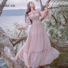 все цены на Ubei2019 Spring Long slash neck long dress sweet pink vintage big hem high quality chiffion dress women онлайн