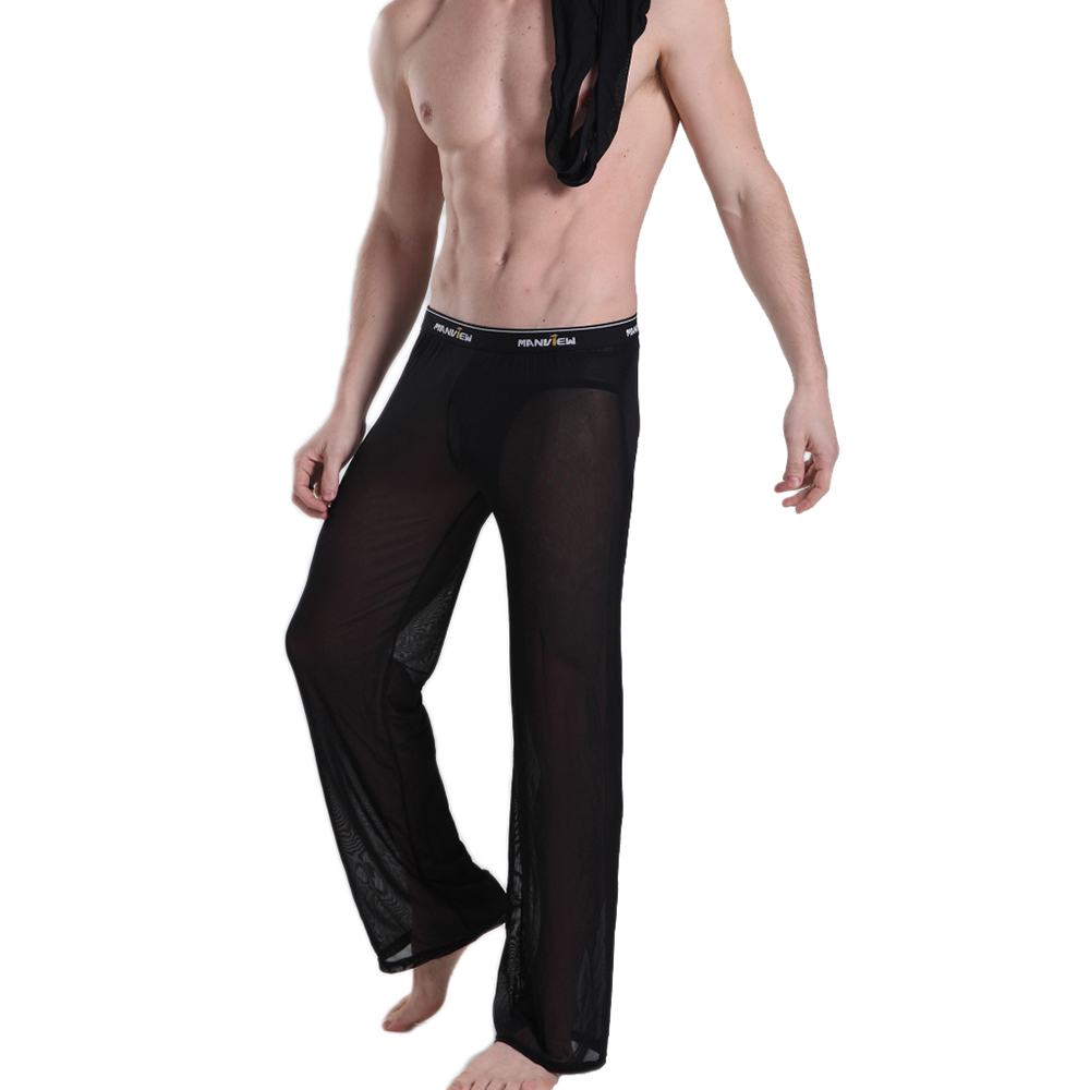 MANVIEW cargo pants Mesh Transparent Casual Men's Pants with nylon joggers of Male Trousers M01-6