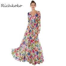 Richkoko новые модные женские туфли Макси платья с длинным рукавом Глубокий V Средства ухода за кожей Шеи Цветочный принт Высокая талия Повседневные платья Для женщин галстук талии Тонкий платье