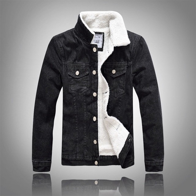 9ba259f40cfb Denim Jacket Fur Collar Men Winter Black Male Bomber Jacket Jeans Jacket Men  Fashion Plus Size With White Faux Leanther Fleece