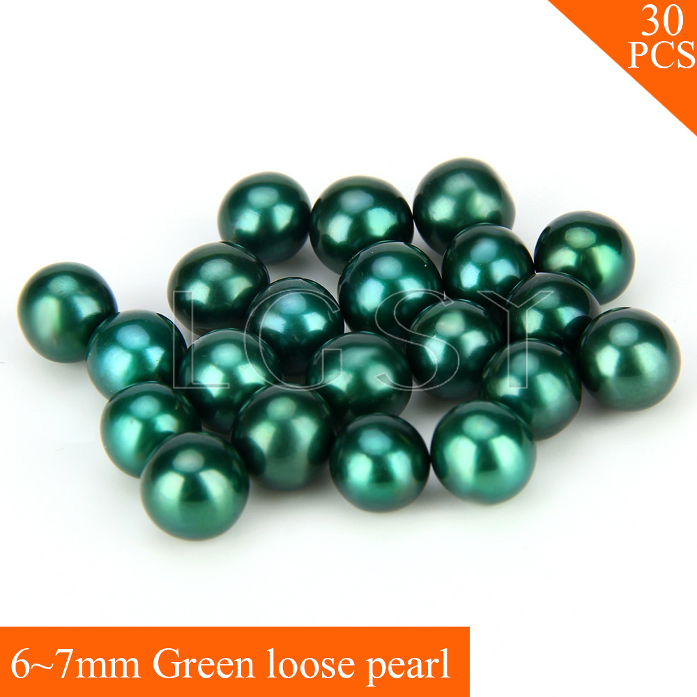 FREE SHIPPING, Attractive 6-7mm AAA Green saltwater round akoya pearls 30pcs cluci free shipping get 40 pearls from 20pcs 6 7mm aaa blue round akoya oysters twins pearls in one oysters