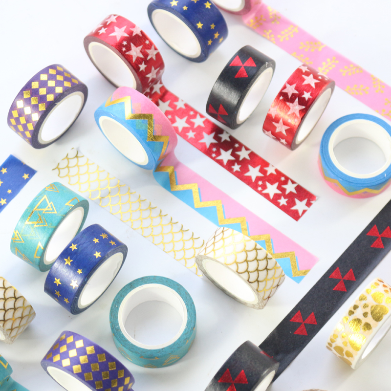 Domikee New Cue Japanese Gold Foil Decoration Washi Tapes Rolls Kids DIY Dairy Scrapbooking Gift Packing Masking Tapes Supplies