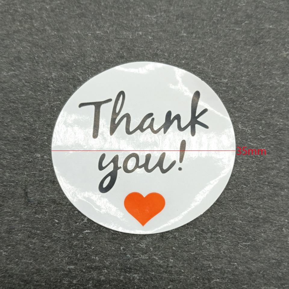 Купить с кэшбэком 100pcs/lot Red Heart White Bottom 'Thank you' Round Self-adhesive Sealing Sticker DIY Decorative Package Label Handmade Products