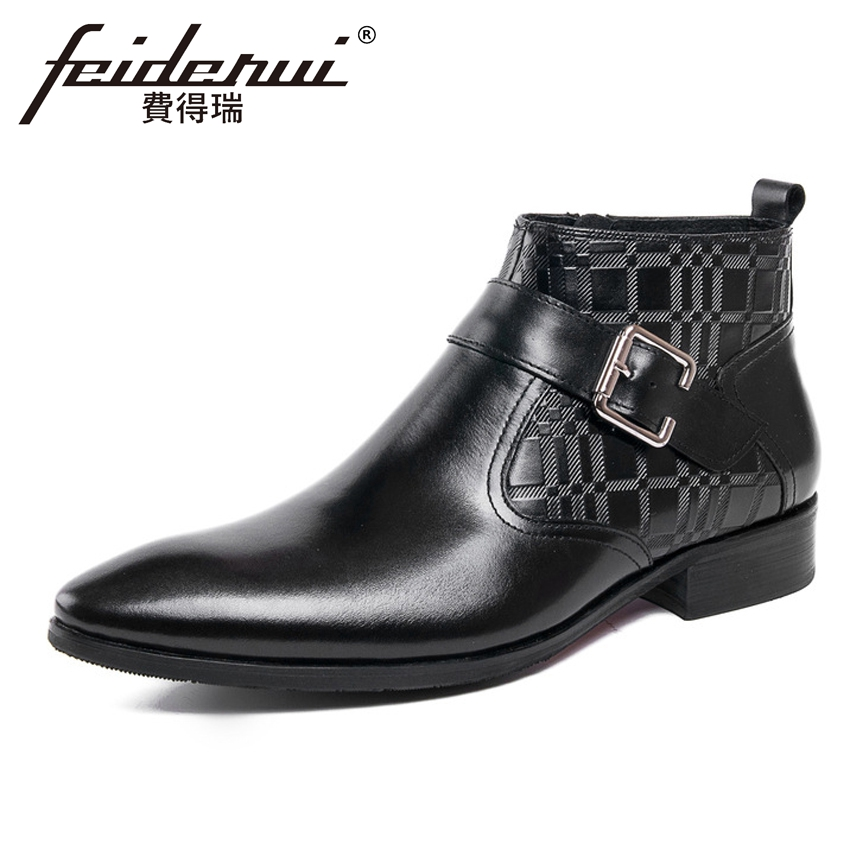 Italian Luxury Genuine Leather Men's Martin Ankle Boots Pointed Toe Handmade Cowboy Outdoor Formal Dress Man Riding Shoes YMX164 krusdan luxury brand platform man handmad outdoor ankle boots genuine leather round toe classic men s cowboy martin shoes