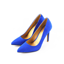women shoes high heels pumps designer shoes women luxury 2016new Thin heel Nubuck leather Suede pointed toe blue zapatos mujer