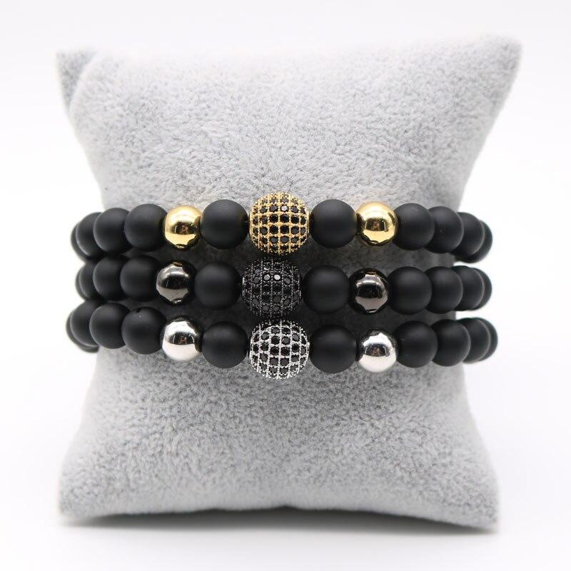 Prix pour 8mm Pave Or Rose Couleur Mâle Disco Boule Noire Cubique zircone Charme Bracelet Mat Pierre Perle Bracelets Pour Hommes Femmes SD-1