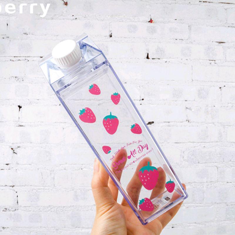 Portable Water Bottle Milk Storage Sakura Print Strawberry Print Sports Drinking Clear Cup For Home School Office|Water Bottles|   - AliExpress