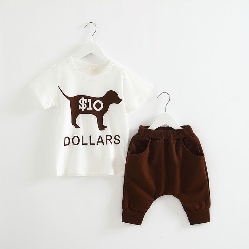 Cute Puppy Summer Kids Clothes Boys Clothing Set Outfits Children T Shirts+Harem Half Pants Baby Clothing 2016 T1/1333DAE