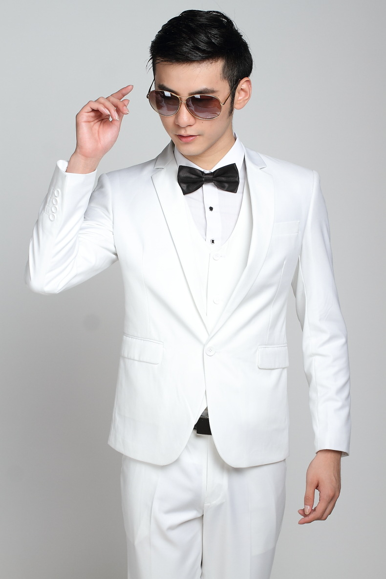 Fashion Brand Groom White Wedding Suits Slim Fit One Button Tuxedo ...