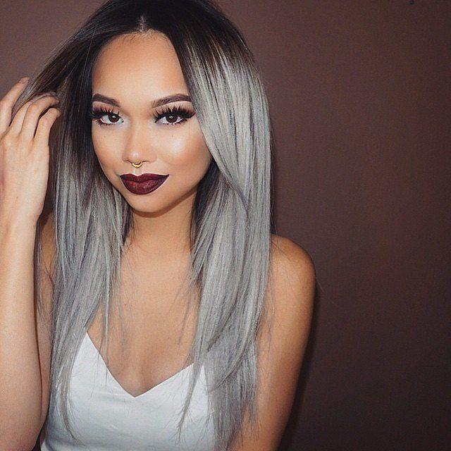 Hot Silk Straight Ombre Silver Grey Hair Synthetic Lace Front Wig Glueless Two Tone Natural Black