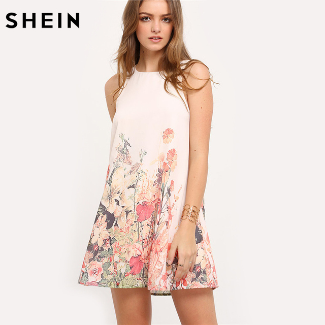 b1ba9516c0 SHEIN Ladies Multicolor Sleeveless Flower Print Boho Dresses New Arrival  Womens Summer Round Neck Cut Out