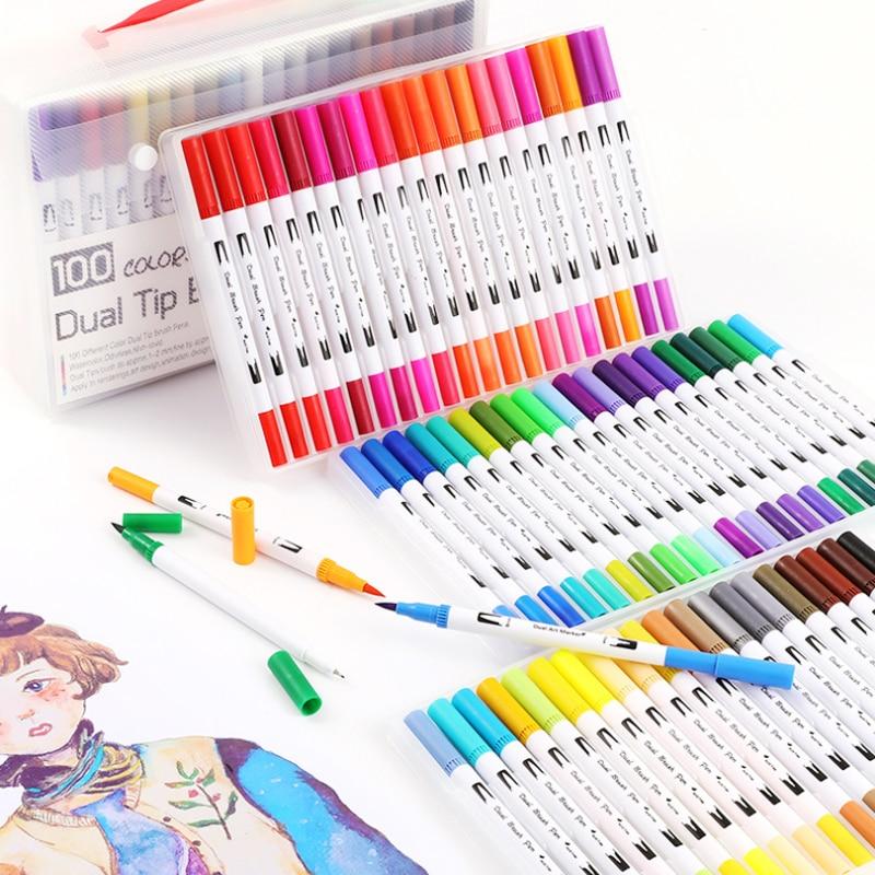 Fineliner Brush Pen Set Water-based Ink Watercolor Marker Drawing Pens Coloring Brushpen Dual Tip Markers Art Supplies Felt Tip
