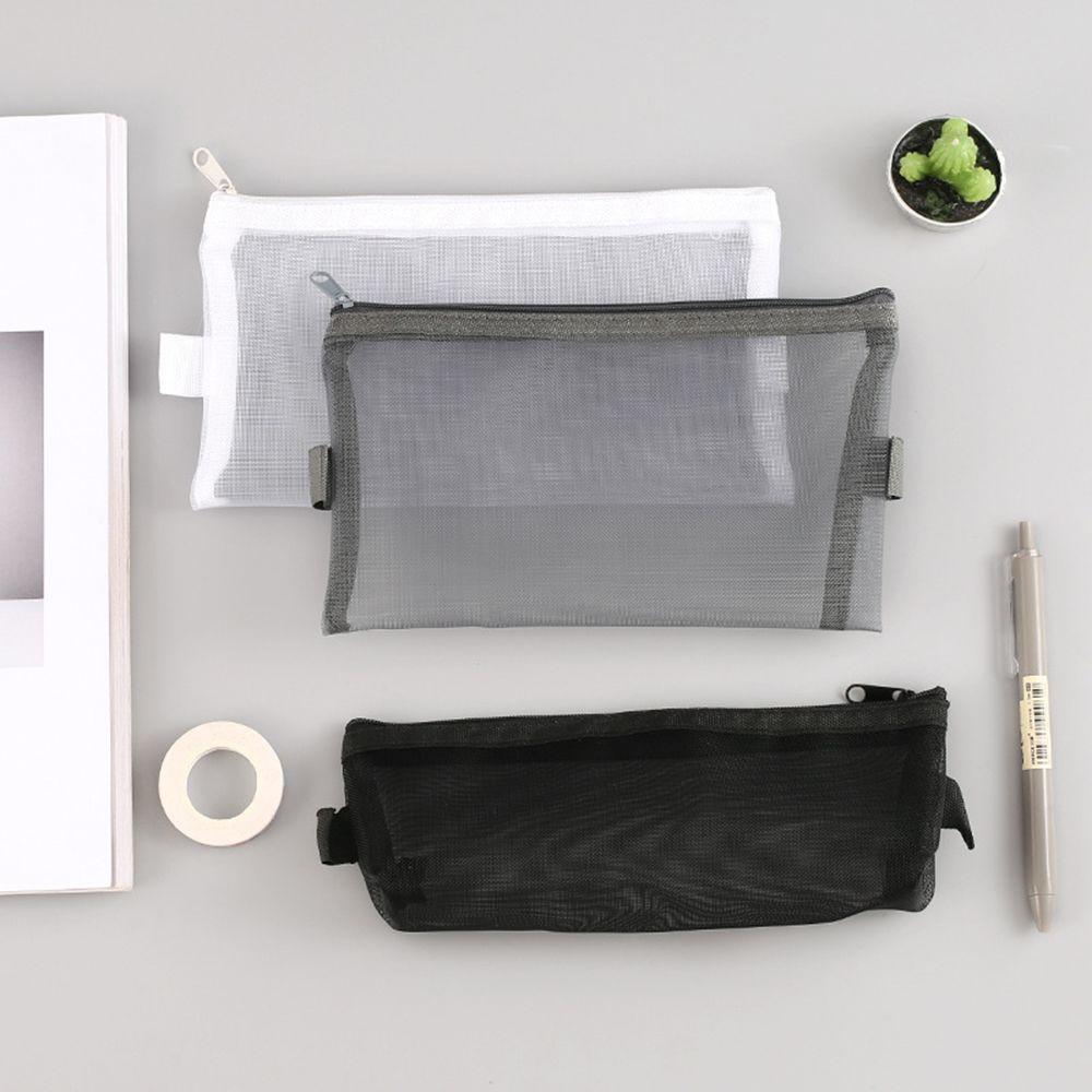 1 PCS/6 Style Simple Transparent Mesh Pencil Case Office Student Pencil Cases Nylon  School Supplies Pen Box