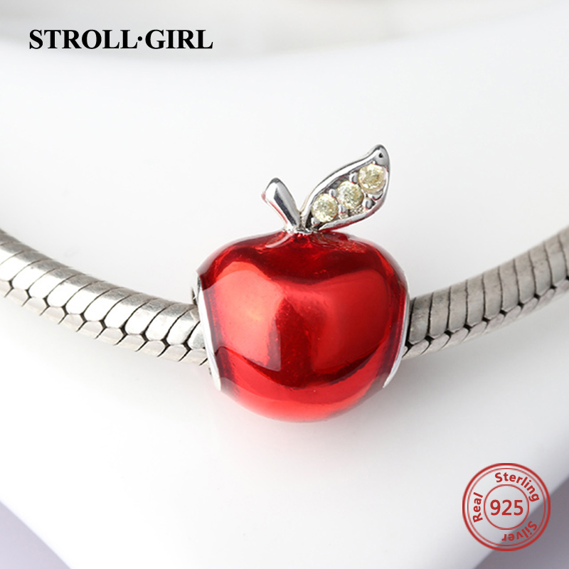 StrollGirl diy red apple charms beads with enamel&CZ Fit Authentic pandora charm Bracelets fashon Jewelry making for women gifts