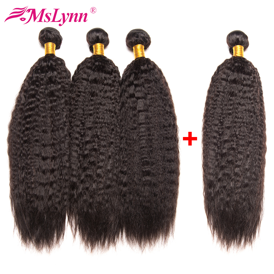 Indian Kinky Straight Hair Human Hair Bundles Natural Black 4 Bundles Deal Mslynn Hair Weave Non Remy Hair Extension 10-28inch