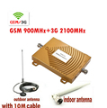 Full Set GSM 3G 900/2100MHz Dual Band Phone Signal Booster Repeater 3G gsm Signal Amplifier w/ Antenna wcdma booster cdma 2000