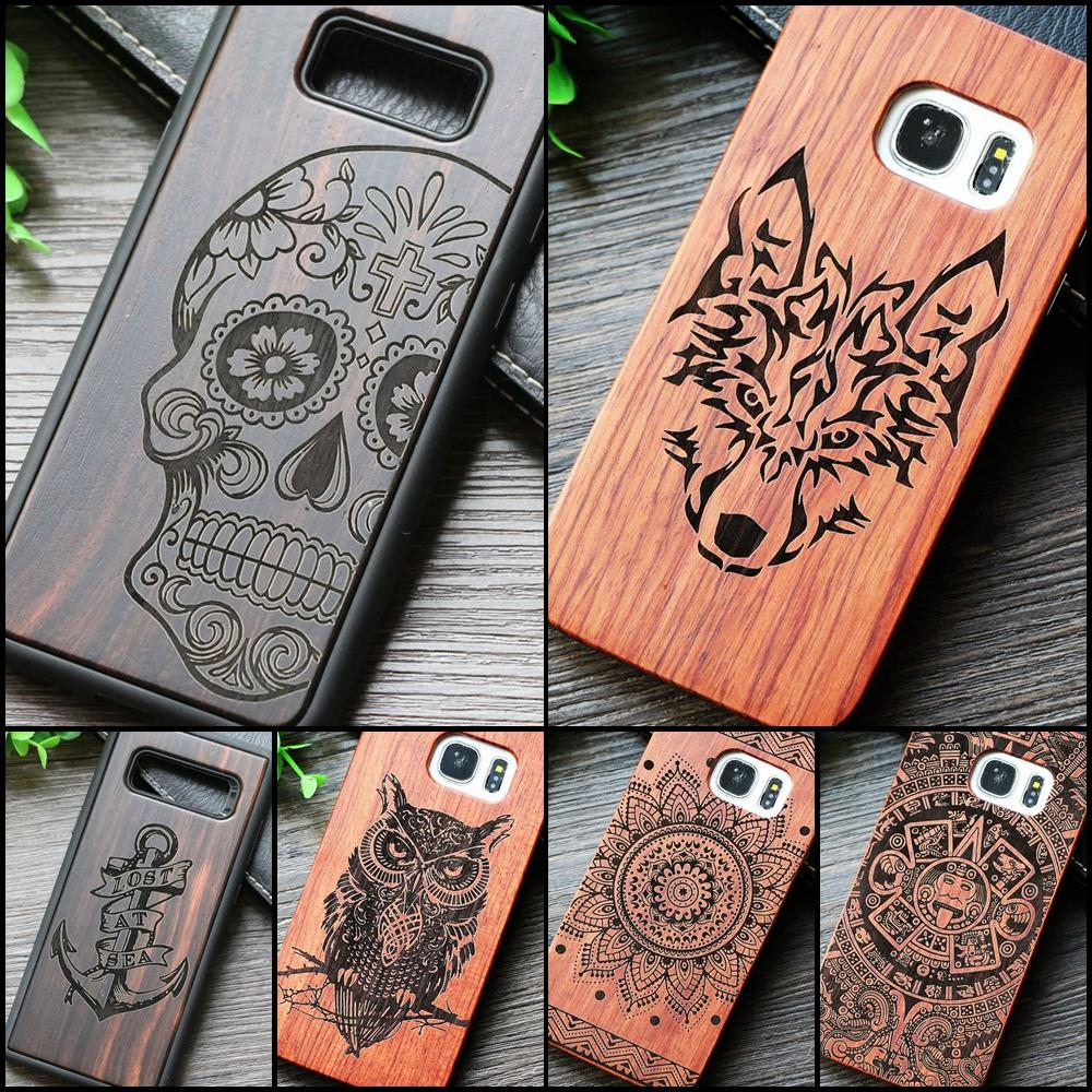 Indian Tribal Wolf Skull Wood Phone Case for Samsung Galaxy S7 S7 Edge Dragon Flower Wooden Samsung Galaxy S8 S8 S9 Plus Cover