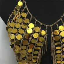 Bling Plastic Sequined Crop Tops Women Sexy Metal Chain Tassel Nightclub Dance Wear
