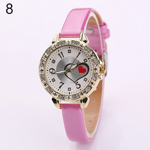 New and fashion girl's Red Love Heart Dial Fine Faux Leather Band Rhinestone Quartz Wrist Watch W2E8D