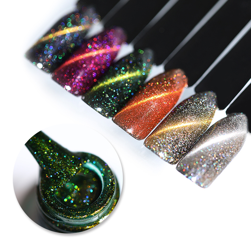 UR SUGAR Holographic Glitter Magnetic Gel Magnet Cat Eye Laser Nails Gel Polish Soak Off UV LED Varnish Nail Art Lacquer 7.5ml elite99 29pcs set not moving cat eye gel 3d long stay cat eye effect nail gel polsih 10ml soak off uv gel lacquer semi permanent