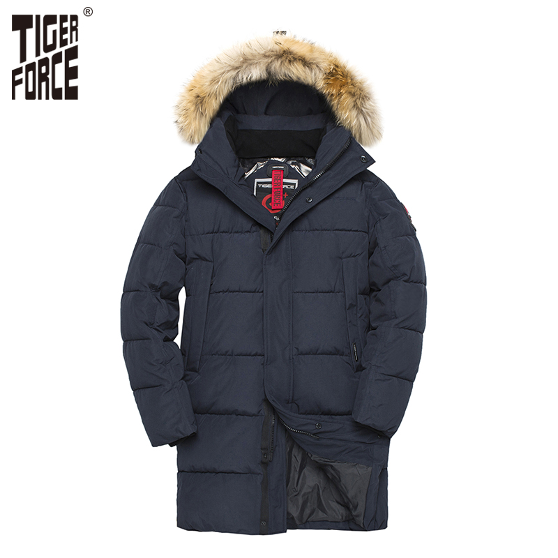 TIGER FORCE   Parka   Men Winter Jacket Men's Padded Warm Coat with Artificial Fur Hood Thick Outwear Waterproof Male Snowjacket