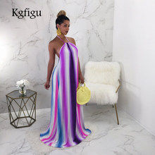 KGFIGU Women long dress 2018 summer bohemian backless robe Ladies oversized  loose dresses rainbow Plus size womens clothing 0392e48989a5