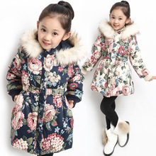 цены Winter baby girls Clothes Hooded cotton-padded clothes Kids girl teenager cotton-padded Thicken warm Outerwear coat 3-13years