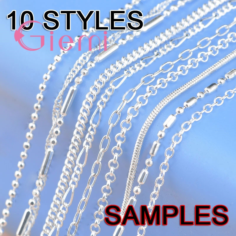 """10Pcs Fine 10 Styles 16-18"""" 1.2-2MM Genuine 925 Sterling Silver Jewelry Link Chains Necklace With Lobster Clasps Findings"""