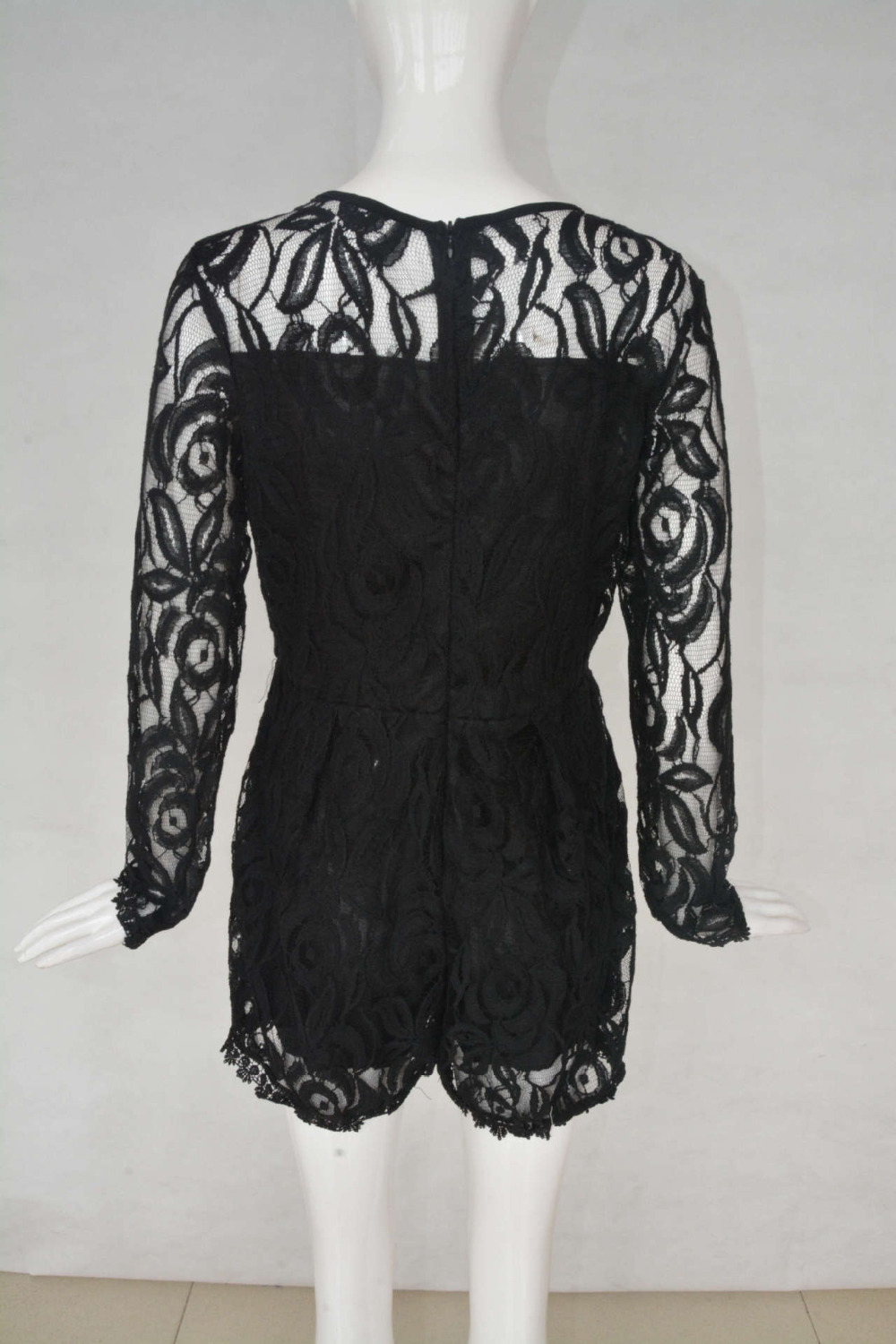 Solid Color Hollow Out Long Sleeve Lace Rompers Plus Size Jumpsuit XXL XXXL XXXXL Clubwear Sexy Short Playsuit White/Black/Red 3