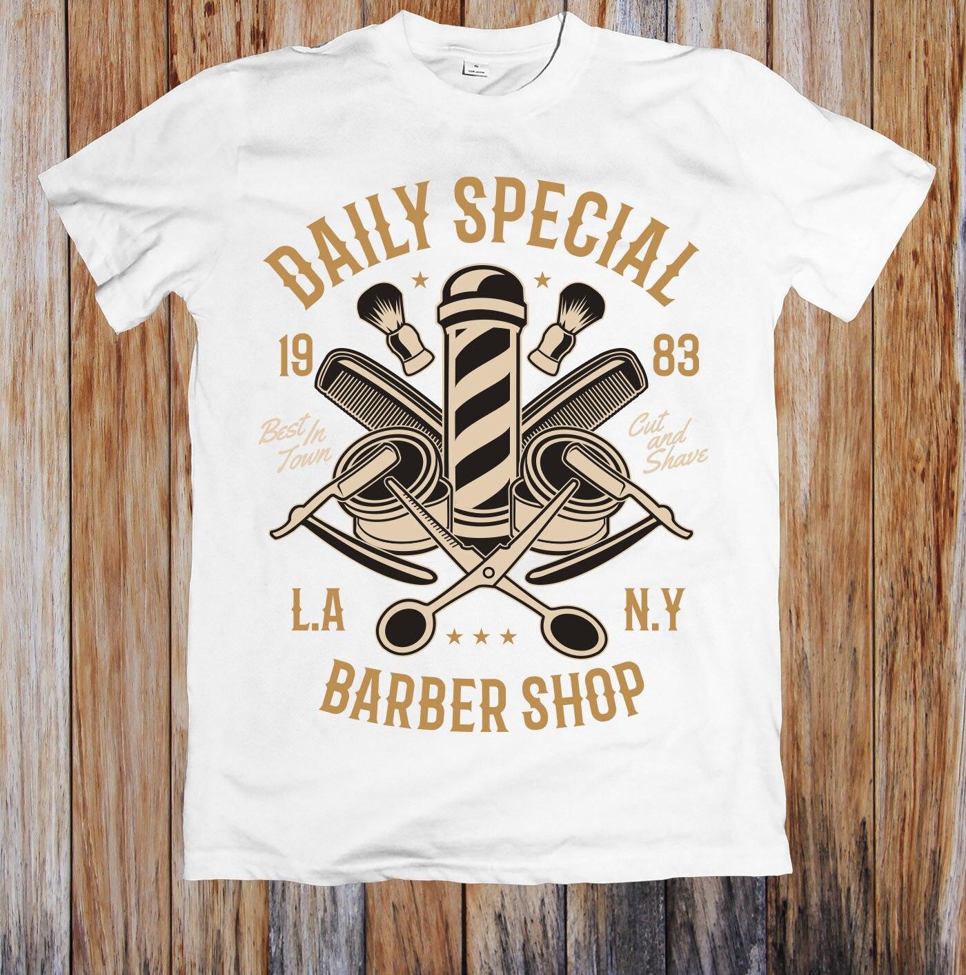 DAILY SPECIAL BARBER SHOP UNISEX T-SHIRT Cartoon Hip Hop Shirt
