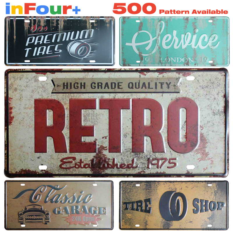 Retro Garage Car Metal License Plate Vintage Home Decor Tin Sign Bar Pub Decorative Metal Sign Art Painting Plaque
