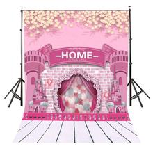 150x220cm Cartoon Childlike Castle Backdrop Millennial Pink Home Photography Background