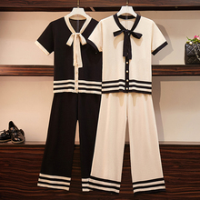 Knitted Summer Suits Tracksuit for Women Knit Suit Outfit 2 Piece Sportswear Co-ord Set Pant and Top 2019 Striped white Clothing orange plus size 2 piece set women pant and top outfit tracksuit sportswear fitness co ord set 2019 summer large big clothing