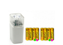Powerful 8 pcs 1.5V AA 2400mWh Lithium Rechargeble Battery + 4 slots aa aaa charger with led flashlight