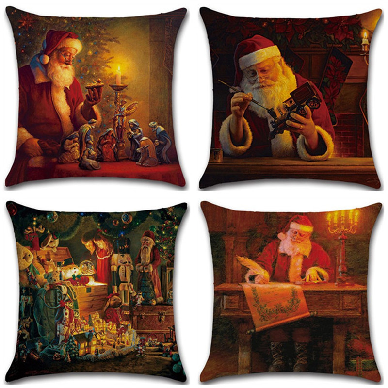 2019 New Year Linen Pillow Case Retro Christmas Santa Claus Pattern Home Supplies Pillowcase Xmas Gifts 45*45cm