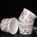 16 oz Cor Dos Desenhos Animados Geléia Tigela Copo de Papel Eco Amigável Grosso Iogurte Sobremesa Tigela Descartável Caixa de Embalagem do Bolo 200 pçs/lote SK810
