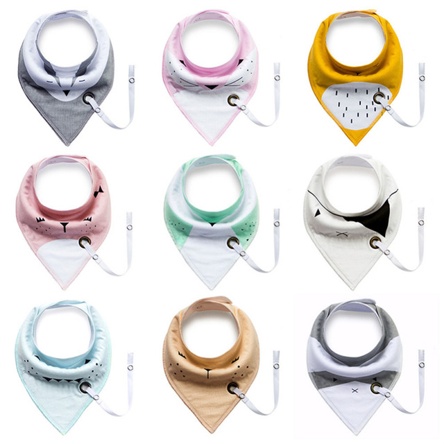 Double-layer Baby Bib With Teether Pacifier Chain Drool 100% Cotton Waterproof Drooling For Baby Feeding