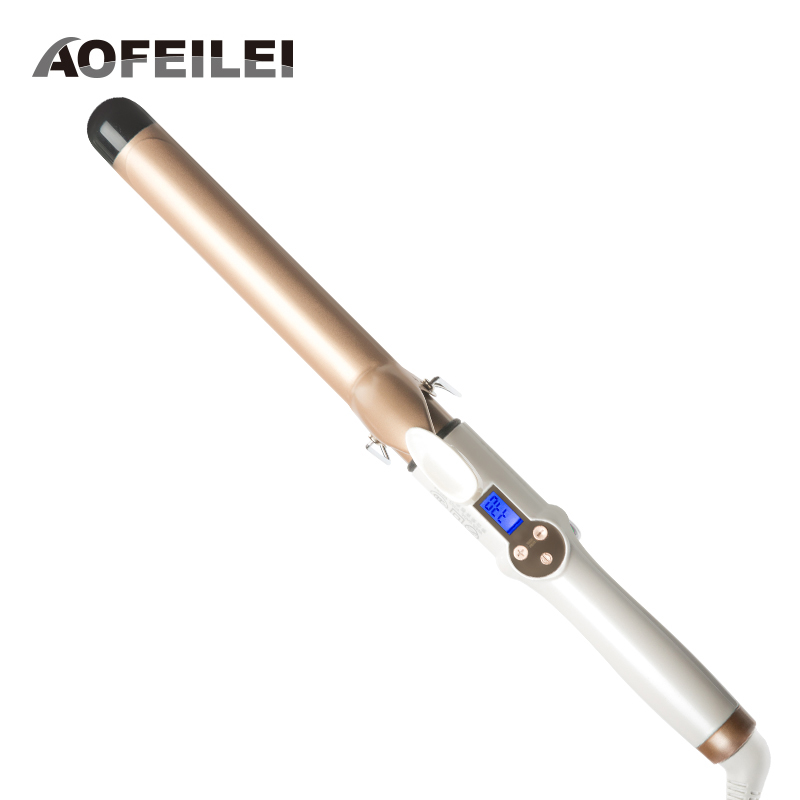 2018 Ny Real Electric Professional Keramisk hårkrøller Lcd Curling Iron Roller Curls Wand Waver Fashion Styling Tools
