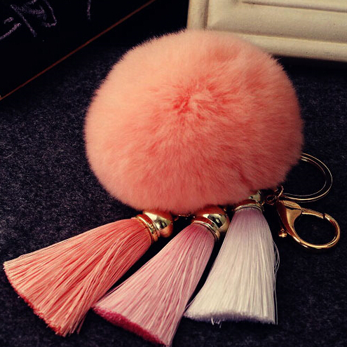Colorful High Quality Fur Brand Bag Keychain Pompon Car Keyring Rabbit Ball Charms Key rings