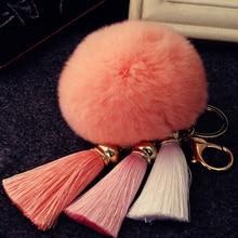 Colorful High Quality Fur Brand Bag Keychain Pompon Car Keyring Rabbit Ball Charms Key rings