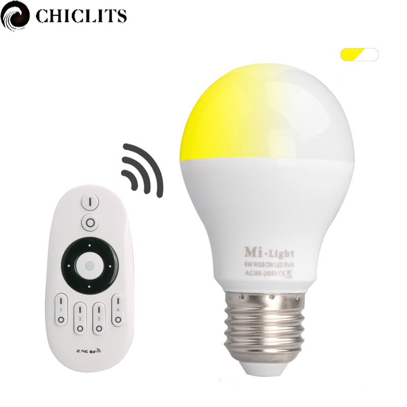 Original Mi Light E27 6W Led Lamp AC 85-265V 110V 220V Dimmable Led Bulb Lamp with 2.4G RF Remote Control Bombillas Smart Bulbs new rf 315 e27 led lamp base bulb holder e27 screw timer switch remote control light lamp bulb holder for smart home