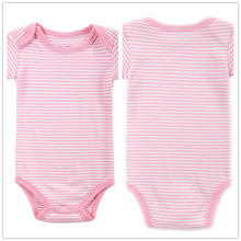 Autumn 1 Piece Cotton Style Baby Girl Boy Clothes Short Sleeve New Born Body Baby Ropa Striped Pink Baby Bodysuit r039